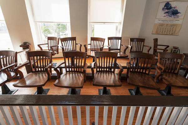 Hardwood Photograph - Jury Box In The Courtroom Of The Old by Panoramic Images