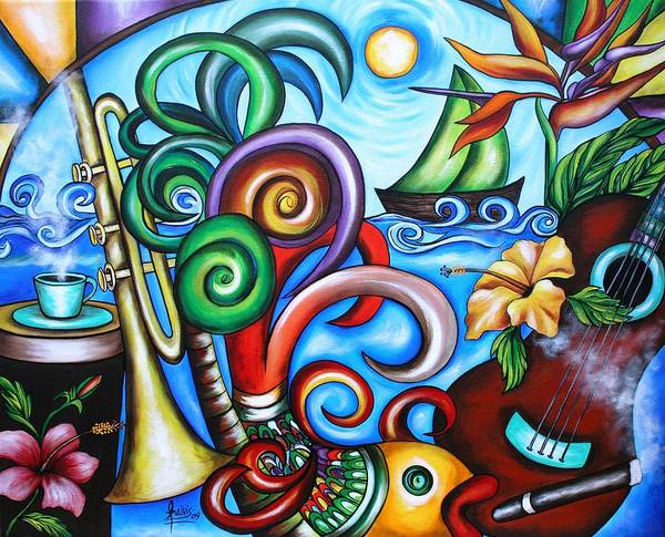Wall Art - Painting - Just A Day In Paradise by Annie Maxwell