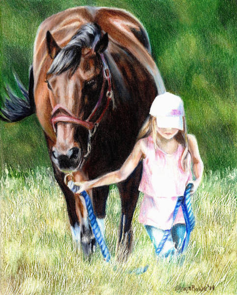 Grass Field Drawing - Just A Girl And Her Horse by Shana Rowe Jackson