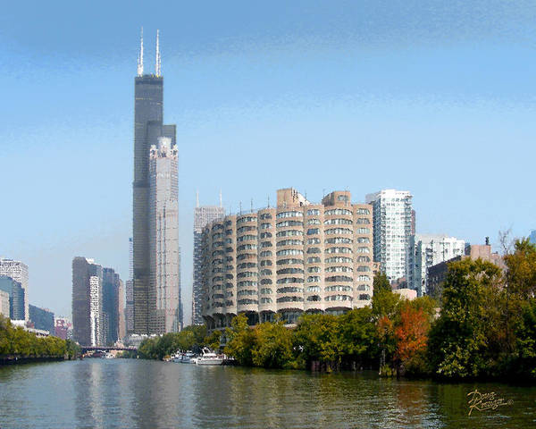 Chicago River Digital Art - Just Around The River Bend by Doug Kreuger