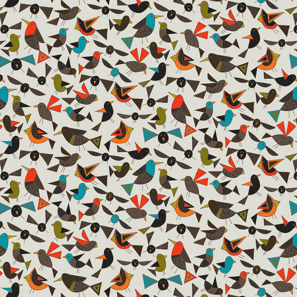 Retro Drawing - Just Birds China White by MGL Meiklejohn Graphics Licensing