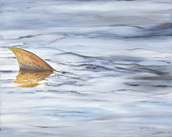 Angler Art Painting - Finning Quietly by Deborah A Cordova