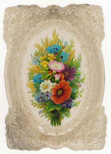 Wall Art - Drawing - Just Flowers - In A Frilly Lacy by Mary Evans Picture Library