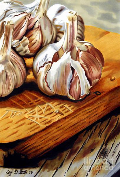 Bulb Drawing - Just Garlic by Cory Still