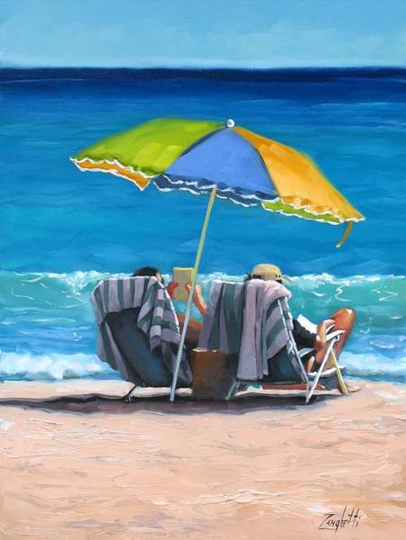 Florida Beach Painting - Just Leave A Message Iv by Laura Lee Zanghetti