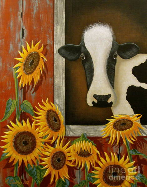 Red Barn Painting - Just Say Cheese by Mary Charles