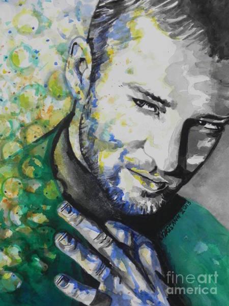 Rock Texture Painting - Justin Timberlake...01 by Chrisann Ellis