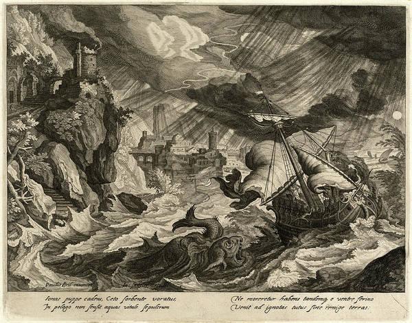 Stormy Drawing - Justus Sadeler After Paul Bril, Jonah Thrown by Litz Collection