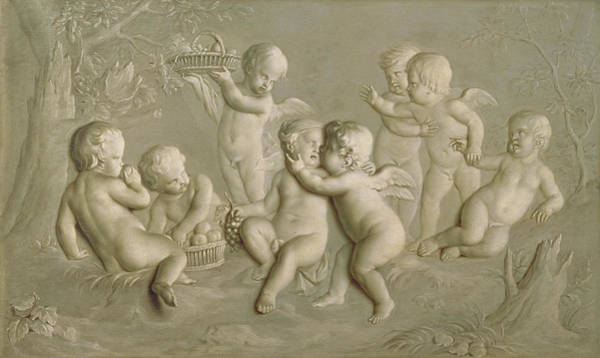 Putto Painting - Juvenile Bacchanalia, 1783  by Grigoriy Ivanovich Ugryumov