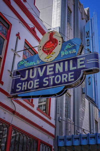 Wall Art - Photograph - Juvenile Shoe Store Vintage Sign by Joan Carroll