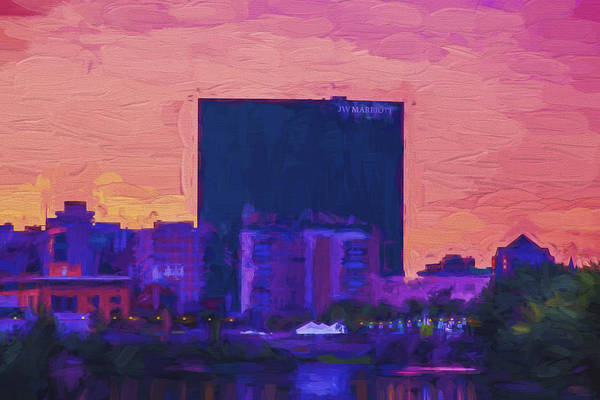 Photograph - Jw Marriott Painted Digitally Indianapolis Indiana  9900 by David Haskett II