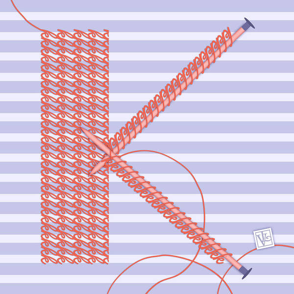 Knitting Digital Art - K Is For Knitters And Knitting by Valerie Drake Lesiak