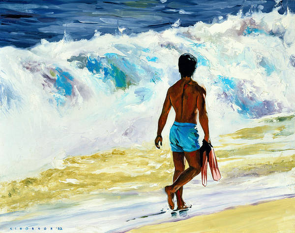 Wave Breaking Painting - Ka Nalu by Douglas Simonson