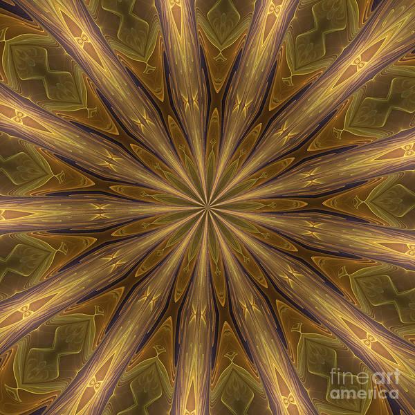 Digital Art - Kaleidoscope With Gold by Deborah Benoit