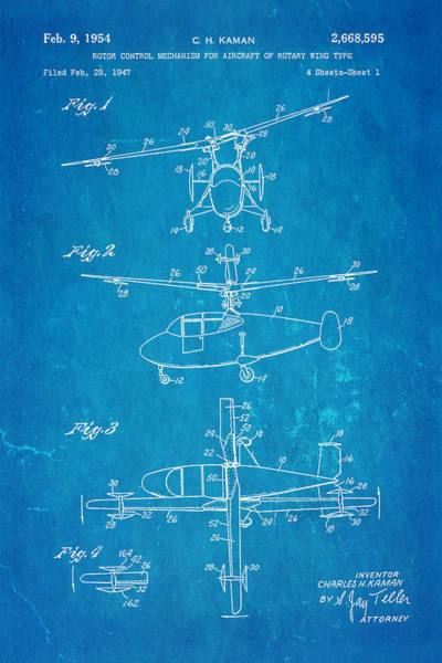 Rotor Photograph - Kaman Rotor Control Patent Art 1954 Blueprint by Ian Monk