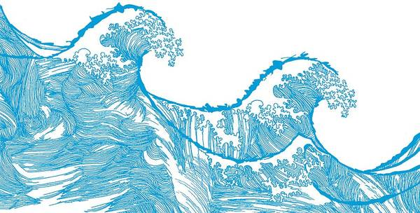 Tides Digital Art - Kanagawa Wave by Sarah Hough