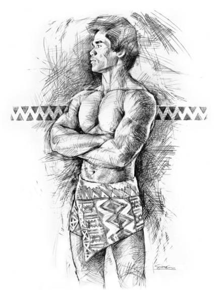 Figurative Drawing - Kane O Hawaii by Douglas Simonson
