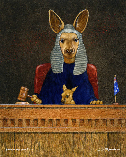 Kangaroo Wall Art - Painting - Kangaroo Court... by Will Bullas