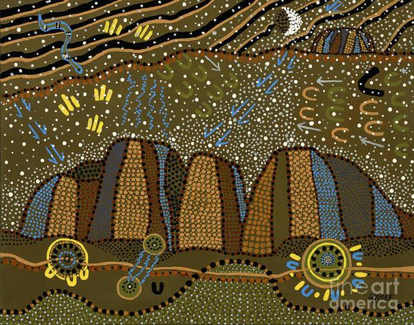 Star Formation Painting - Kangaroo Hunt At Kata Tjuta by Linda Wolf