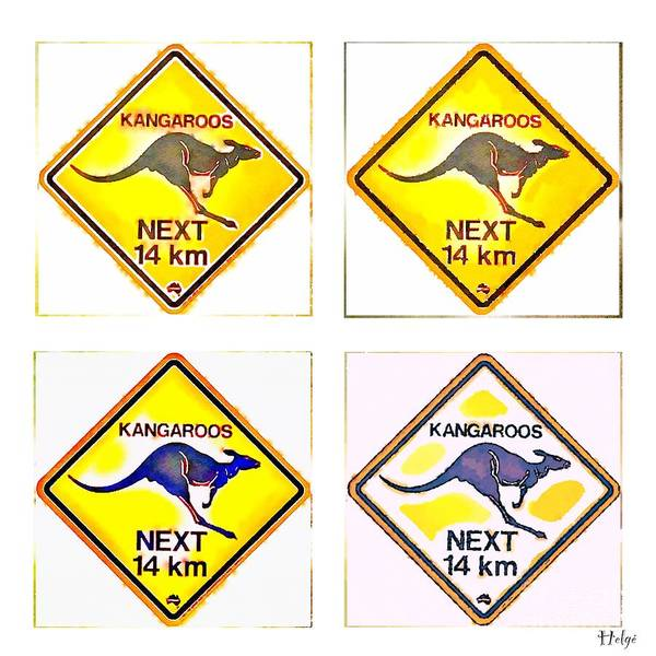 Painting - Kangaroos Road Sign Pop Art by HELGE Art Gallery