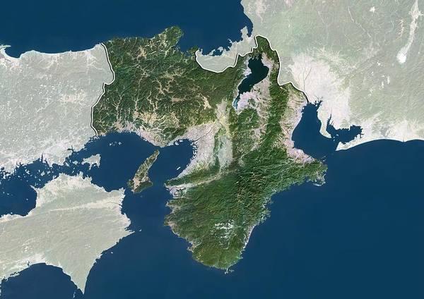 Kansai Region Wall Art - Photograph - Kansai, Japan, Satellite Image by Science Photo Library