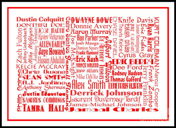 Digital Art - Kansas City Chiefs Team Roster 2014 by Andee Design