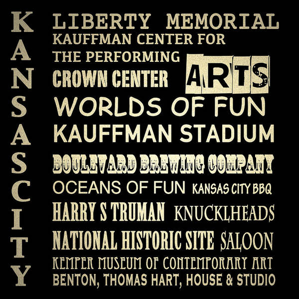 City Cafe Wall Art - Digital Art - Kansas City Famous Landmarks by Patricia Lintner