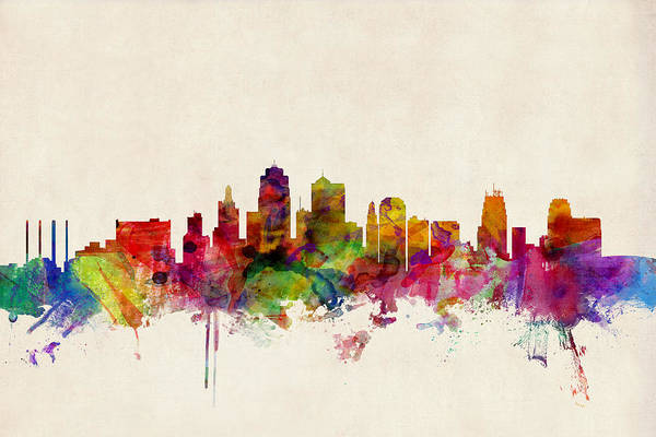 Watercolours Wall Art - Digital Art - Kansas City Skyline by Michael Tompsett