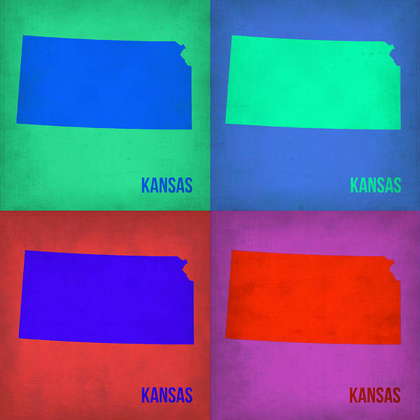 State Painting - Kansas Pop Art Map 3 by Naxart Studio