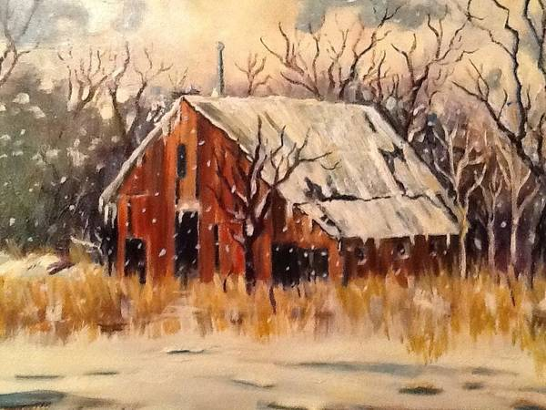 Barn Snow Painting - Kansas Snow by Sheila Kinsey