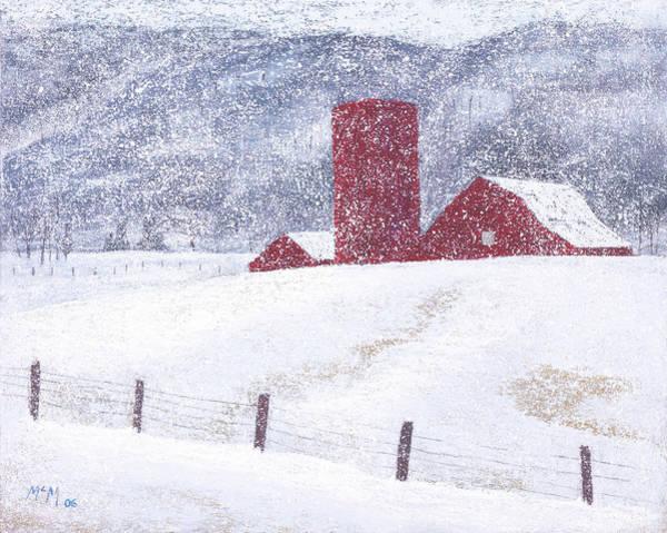Barn Snow Painting - Kansas Snow Storm by Garry McMichael