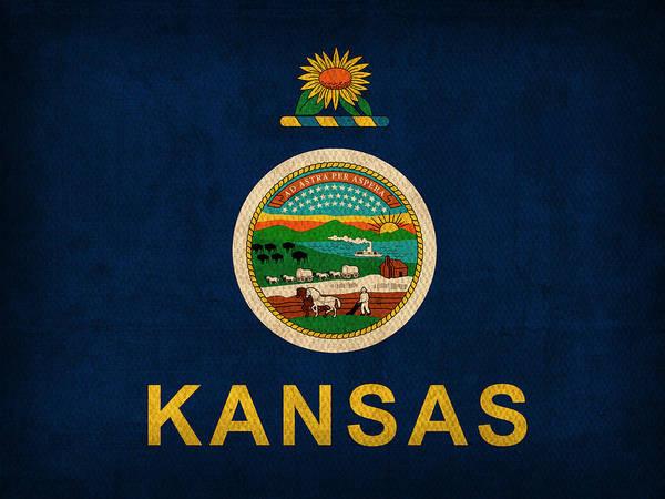 Wall Art - Mixed Media - Kansas State Flag Art On Worn Canvas by Design Turnpike