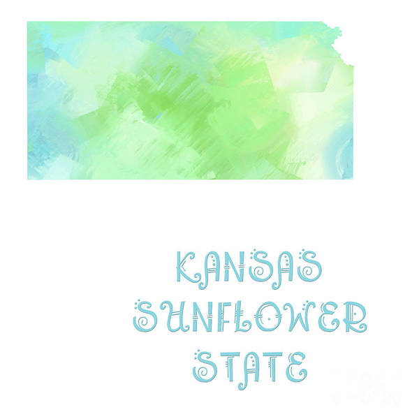Digital Art - Kansas - Sunflower State - Map - State Phrase - Geology by Andee Design