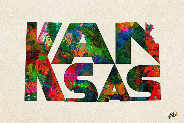Wall Art - Painting - Kansas Typographic Watercolor Map by Inspirowl Design