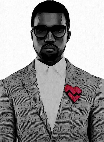 Digital Art - Kanye West  by Dan Sproul