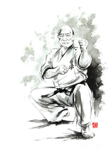 Wall Art - Painting - Karate Martial Arts Kyokushinkai Masutatsu Oyama Japanese Kick Japan Ink Sumi-e by Mariusz Szmerdt