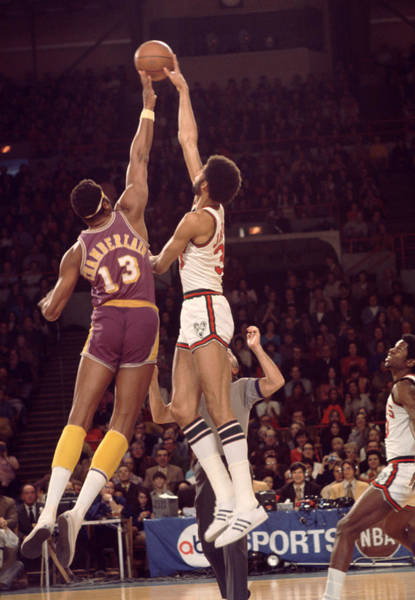 Wall Art - Photograph - Kareem Abdul Jabbar Vs. Wilt Chamberlain Tip Off by Retro Images Archive