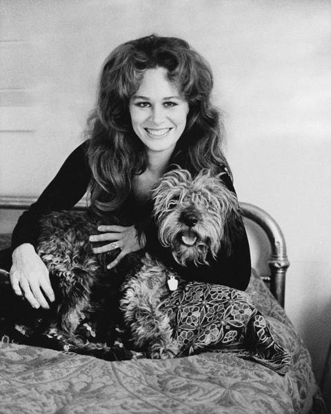 Bed Photograph - Karen Black With Her Dog by Baron Wolman