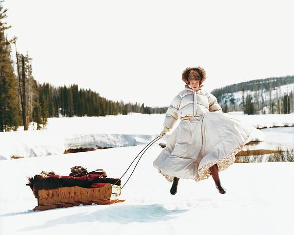 Season Photograph - Karen Elson In The Snow by Arthur Elgort