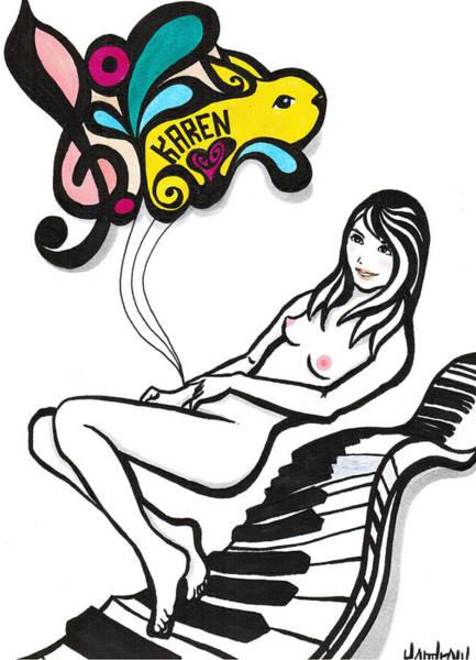 Dark Pink Drawing - Karen Mood by Kendrew Black