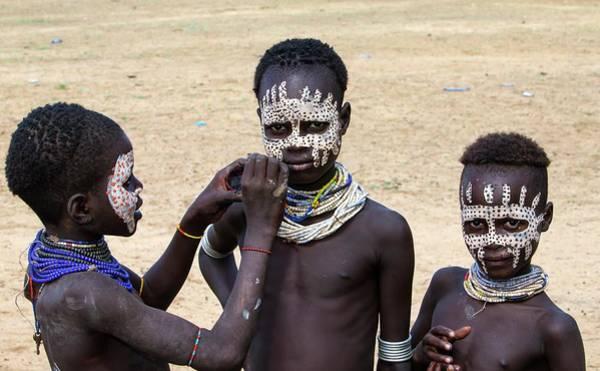 Bodypaint Wall Art - Photograph - Karo Tribe Boys Face Painting by Peter J. Raymond