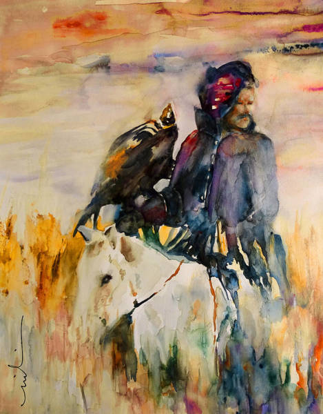 Painting - Kasak With Falcon by Miki De Goodaboom
