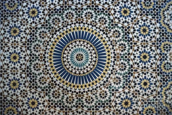 Cell Phone Wall Art - Ceramic Art - Kasbah Of Thamiel Glaoui Zellij Tilework Detail  by Moroccan School