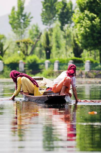 Dal Lake Photograph - Kashmiri Women In Colorful Headscarves by Steve MacAulay