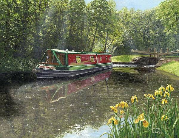 Wall Art - Painting - Kathleen May Chesterfield Canal Nottinghamshire by Richard Harpum