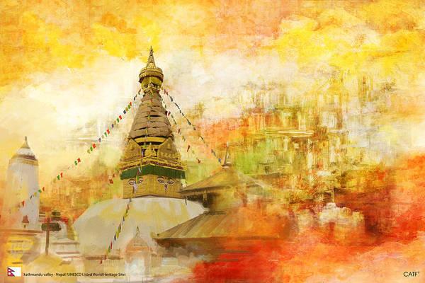 Nepal Wall Art - Painting - Kathmandu Valley by Catf