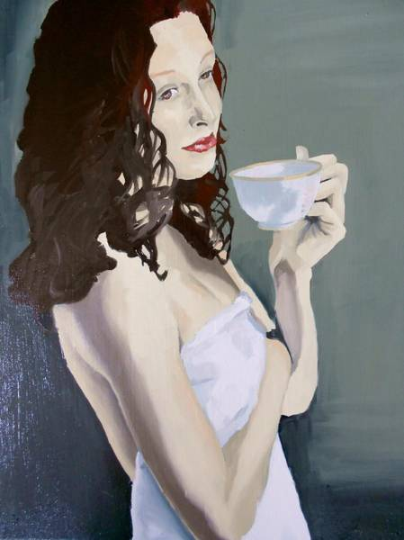 Painting - Katie - Morning Cup Of Tea by Stephen Panoushek