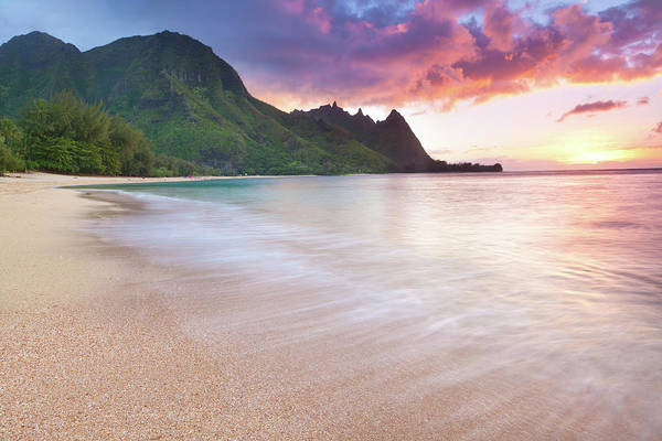 Big Island Photograph - Kauai-tunnels Beach In  Hawaii At Sunset by Wingmar