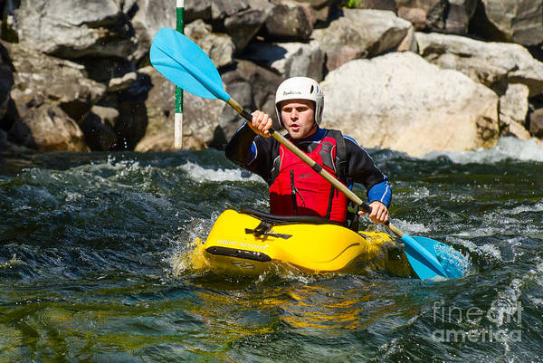Photograph - Kayak On A Whitewater River by Les Palenik