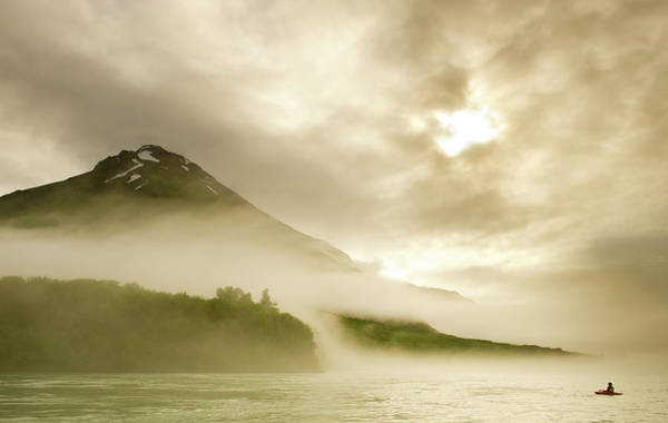 Yukon Territory Photograph - Kayaker And Marine Fog On The Alsek by Josh Miller Photography